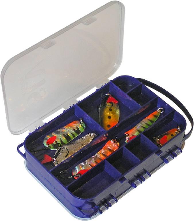 aquatech plastics Коробка AQUATECH 2-сторонняя, 15 ячеек на шею для спиннинга (185x135x50 мм)