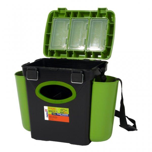helios Ящик зимний рыболовный Helios FishBox, односекционный, 10л, зеленый