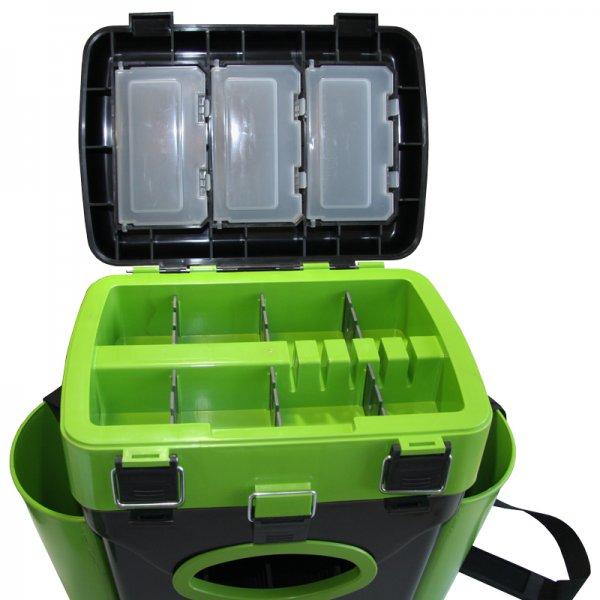 helios Ящик для зимней рыбалки Helios FishBox двухсекционный (10л), зеленый